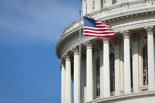 Capital building with flag
