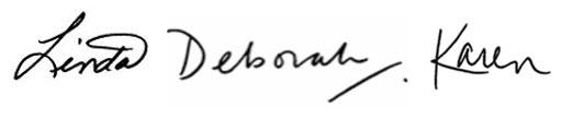 Linda Deborah Karen signatures